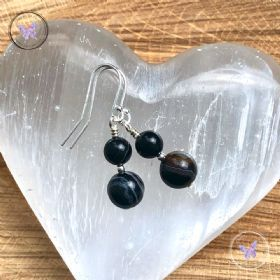 Black Sardonyx Silver Earrings